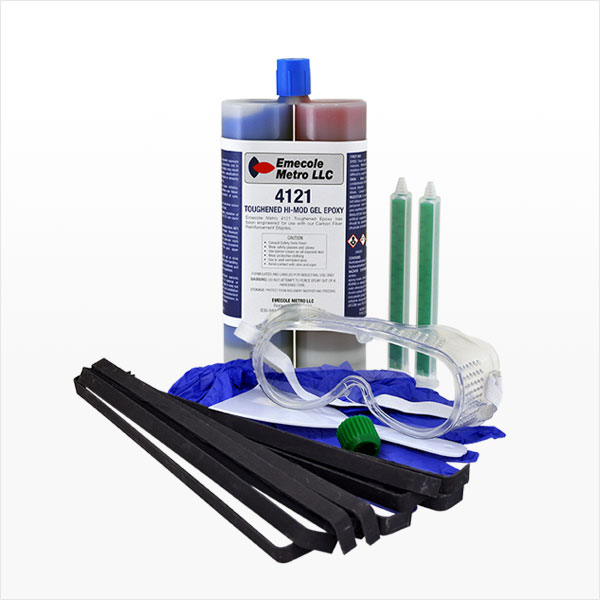 Carbon Fiber Staple Structural Wall Crack Repair Kit - 10 Staples, Dual Cartridge Epoxy