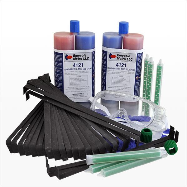 Carbon Fiber Staple Structural Wall Crack Repair Kit - 30 Staples, Dual Cartridge Epoxy