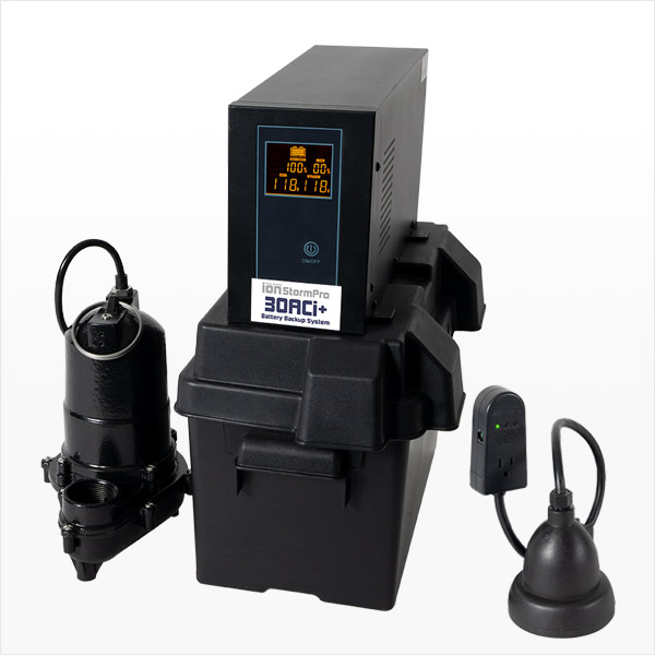 Battery Backup Sump Pump System 30ACi+ Ion Technologies