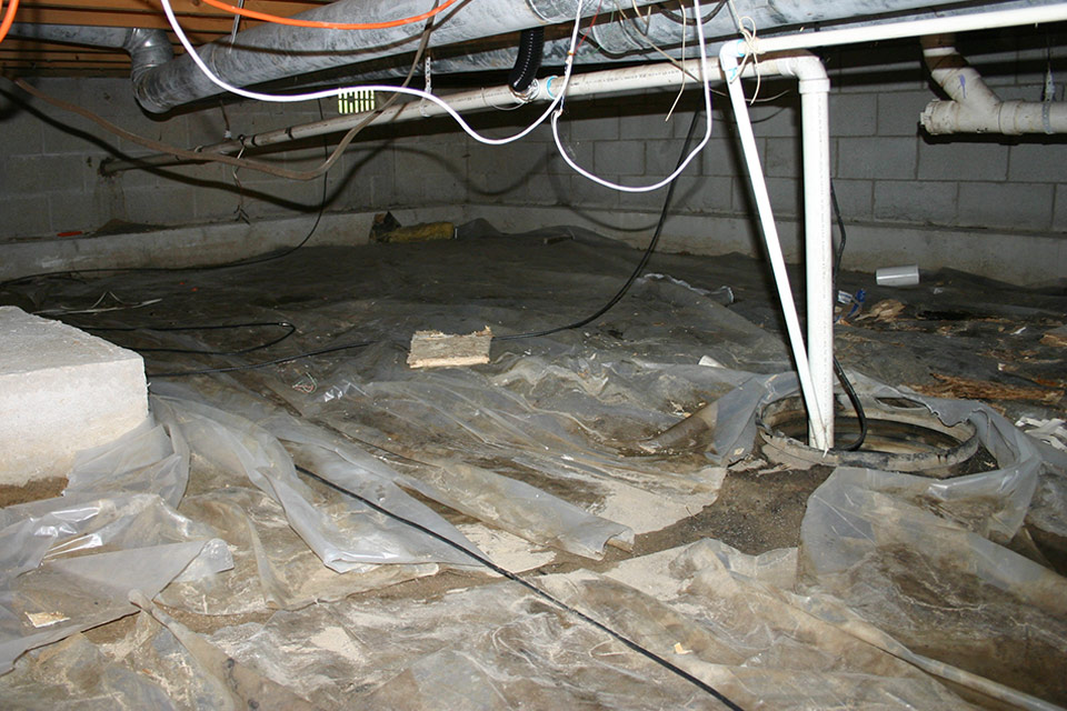 Musty Crawl Space with Exposed Sump Pit