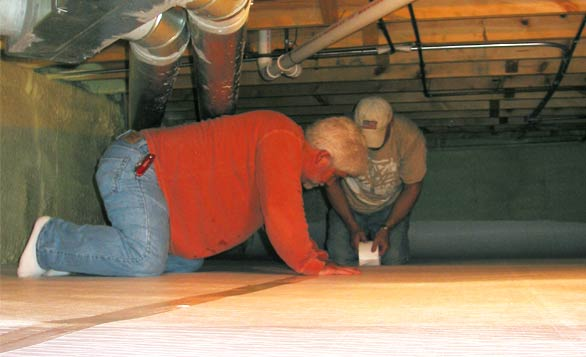 Installation of Vapor Barrier and Crawl Space Encapsulation System