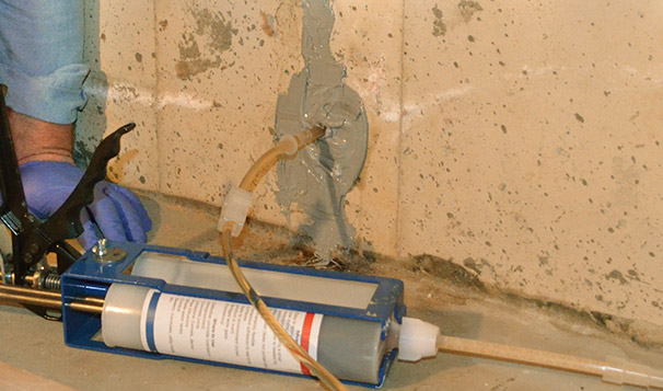 Crack Injection into Poured Concrete Foundation